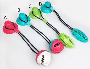 Haustier-Hundespielzeug Silikon-Saugnapf Tug Hundespielzeug Hunde Schieben Ball Spielzeug Haustier-Zahn-Reinigungs-Hund Zahnbürste