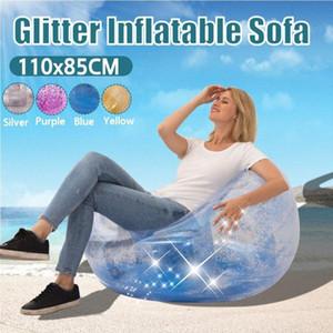 Bean Bag preguiçoso Sofá-cama inflável dobrável reclinável Outdoor sofá-Presidente Adulto Lantejoula Transparente Stool esférico espessamento OW3E #