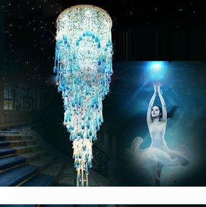 Nuovo lampadario di cristallo rotonda di cristallo linea doppia scala appesa villa lampada soggiorno sala soffitto hotel lampada progetto hall ha portato