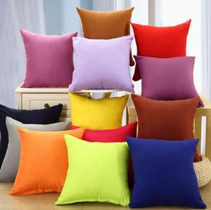 18*18 Inch Home Pillowcase Pure Color Polyester White Pillow Cover Cushion Cover Decor Pillow Case Blank christmas Decor EEA1773