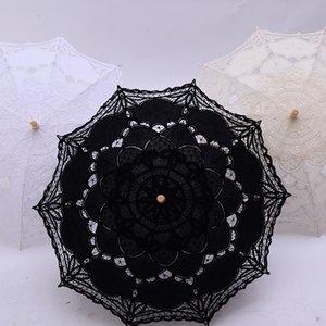Wedding Lace Umbrella cabo de madeira presentes da dama de honra Westerns Vintage Eventos Festa Decoração Parasol Sun Umbrella DDA151