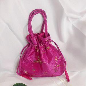 Abera2020 seda sacos de balde corda bordar flores bolsas de mini vintage embreagem vestido bolsa doce cor sacos transporte da gota MN