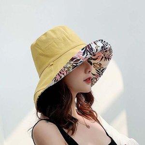 2020 Fashion Anti-UV Wide Brim Cotton Linen Sun Hat For Women Vacation Summer Beach Visor Cap Girls Double-sided Hats