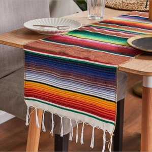 14 x108 inch Colorful Striped Mexican Serape Blanket Party Wedding Decorations Cotton Table Runner Tablecloth Beach Mat DHE203