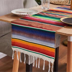 14 x108 pouces coloré rayé mexicain Serape Blanket Décorations festives de mariage coton Chemin de table Nappe Beach Mat DHE203