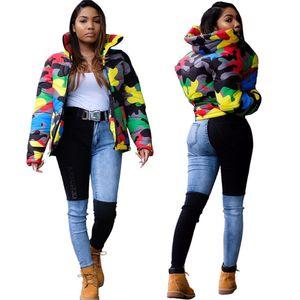 Камуфляж Женщины Дизайнер ветровки Street Style Contrast Color Stand Collar с длинным рукавом пальто Мужская зима Верхняя одежда