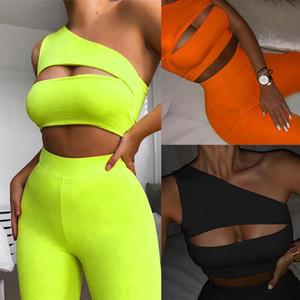 Femmes tracksuit shorts sexy deux pièces costume une épaule Yoga Ensembles Creux Out Crop Tops Haute taille Biker Shorts Dames Sportswear 050714