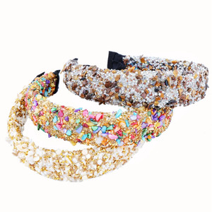 Personalizzato Natural Stone Crystal Stone Faccames Colorful Stud Strass Strass Donne Fascia Fascia Partito Hairband New Fashion Corona Accessori per capelli