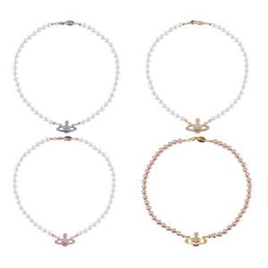 Cadena 20Women corto perla collar de cadena del collar del Rhinestone satélite Orbe clavícula 3 colores joyas de alta calidad