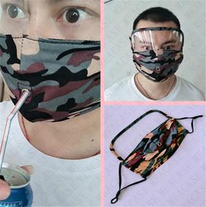 2 in1 Camouflage Maschera per il viso maschere a pieno protettiva viso paglia apertura a zip Protezione Facciale 2 Stili regolabile in bicicletta Maschera facile da bere D72306