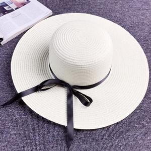 Instrine Bow noeud Femmes Chapeau de paille Holiday Holiday rétro Large Bord Bronzé 4 couleurs Personnalité Girls Beach Hats Ljja4310
