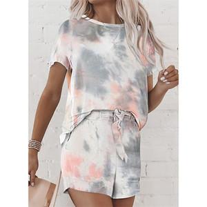S-XXL Frauen Tie-Dye-Druck Anzug Bikini Short Sleeve + Shorts Zweiteilige Kleidung Anzug Schlafrock Sommer-Damen Pyjama-Sets LY710