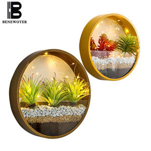 Modern Round Iron Art Glass Wall Vase with LED Light Decor Wall Planters Home Living Room Hanging Flower Pot Succulent Plant Pot Y200709