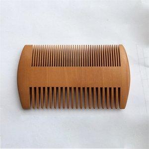 Doble cara de madera Barba peine Cuidado de la Salud madera de durazno Peines Entrar color sólido del bolsillo de la función multi cepillo de pelo de peluquería Herramientas 1 85my B2