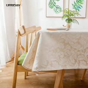 UFRIDAY Modern Christmas Tablecloth Waterproof Thick Table Cloth Red Jacquard Wedding Table Cover Hotel Home Party Decoration T200707
