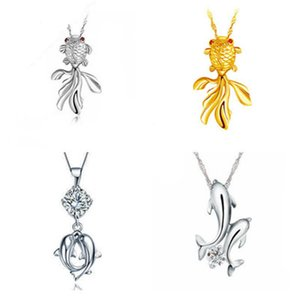 S925 Silver Pendant Necklace for Women Fashion Cool Charm Party Elegant Animal Fish Pendant Necklace Jewellery