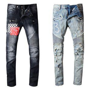 Pantalon homme styliste jeans déchiré déchiré motard jean hommes femmes slim ajustement motard motard motard denim jeans hip hop hip hop means taille 29-40