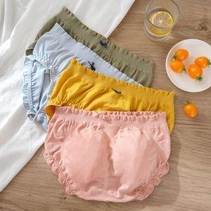 Mid-waist women's cotton graphene antibacterial crotch cute Underwear hip bag girl's triangle seamless underwear large size