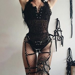 sexy Gothic bodysuit women tank sleeveless camisole lace mesh see trough tie front bandage open back star moon Halloween