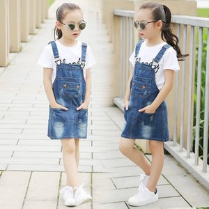Teens Big Girls Jumpsuit 2019 New Summer Denim Overall Cowboy Breastplate Girls Dungarees Children Clothes 10 12 Years CX200720