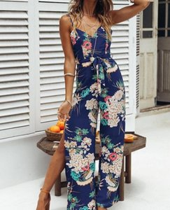 floral print Women Ladies Jumpsuits Clubwear Summer V Neck Loose split Playsuit Bodycon beach Jumpsuit Romper female long overal