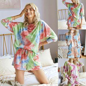 Original Design Mode-Freizeithemd Shorts Zweiteilige Frauen-Set Sommer Tie-Dye-lose-Fit Dreiviertel Ladiestop Anzug S-XL