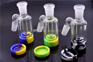 14mm 18mm verre Catcher Ash avec récipient de silicone pour les Cendriers de verre plate-forme pétrolière de verre avec base de silicone amovible facile à nettoyer