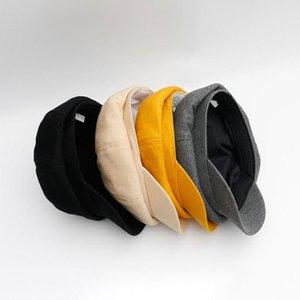 Tapas de estilo otoño invierno del color sólido de algodón de las mujeres sombreros octagonales octogonal Beret