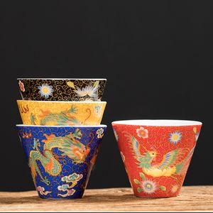 Regalos hechos a mano Copa Copa esmalte té del dragón té de Phoenix Maestro Accesorios de cerámica Teaware Pu'er Tazón Vaso Decoración del hogar