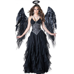Femmes Sexy noir costume d'ange femme Halloween Patchwork Spaghetti Strap Mesh cosplay robes femmes noires costume de sorcière