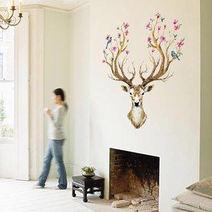 벽 스티커 창조적 인 엘크 사슴 머리 벽 벽화 포스터 홈 인테리어 벽지 예술 이동식 새해
