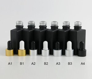 50pcs lot Frosted square flat black bottle 30ML essential oil bottled glass bottle power distribution aluminum