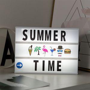 A4 Taille de batterie USB LED Combinaison de nuit PLANCHE Lettres de bricolage Symbole Cartes Décoration Lampe Babillard Lightbox