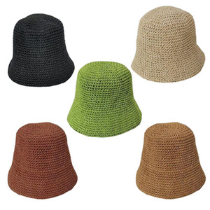 Women Weave Crochet Straw Bucket Hat Summer Solid Color Sunscreen Hat Breathable Dome Elegant Foldable Beach Fisherman Cap