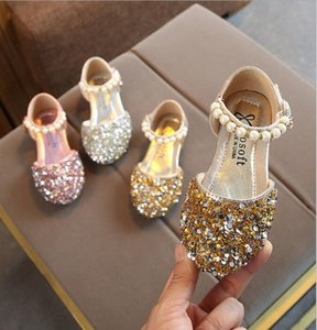New popular spring and summer girl shoes baby princess children's casual sequins shoes pearl dance shoes