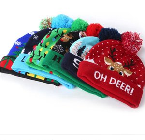 Christmas Knitted Hat Light-up Beanies Hats Fashion Xmas Outdoor Light Pompon Ball Ski Cap Novelty LED YSY205