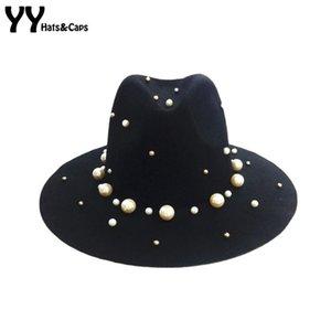 Vintage Moda Yün Trilby Hat Kadınlar Boncuk Tok Caz Sonbahar / Kış Bayan Keçe Şapka Fadora Chapeau feutre YY0403 Caps