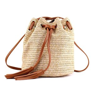 Shoulder Bag Ladies Fabric Summer Beach Bags With Tassels Weaving Crossbody Bag Women Weaving Money Bank Knitted Beach Handbag,