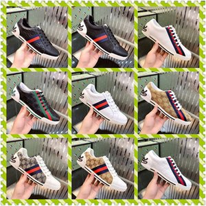 Hot Sell embroidery bee Small Men White Shoes G Women cheap leather low Cut Casual Flat Shoes Sneakers Unisex Zapatos Walking Shoes