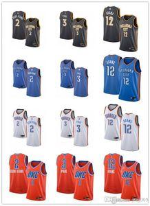 Para mujer para hombre de la JuventudOklahomaCiudadTrueno2 Shai Gilgeous-Alexander 3 Chriscostumbre Paul 12 Steven Adams jerseys del baloncesto