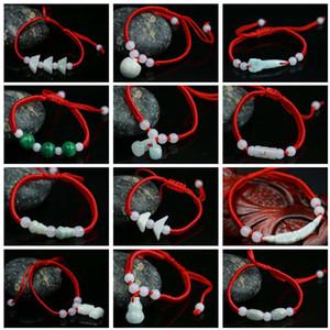 DHL epacket navire Jade jadéite de corde rouge Bracelet hommes et femmes Destiny Red Rope Bracelet tissé main DJFB104 charme bijoux Bracelets