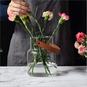 Unique Nordic Glass Storage Jar Bottle with Leather Handle Minimalist Desk Storage Bottle Organizer Flower Vase Container Decor