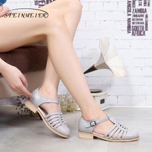 Genuine cow leather lady Sandals flats shoes designer vintage handmade oxford shoes for women 2020 black grey brown summer