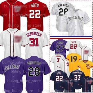 22 Juan Soto jerseys 31 Max Scherzer 7 Trea Turner 37 Stephen Strasburg 13 Manny Machado 19 Tony Gwynn 28 Nolan Arenado béisbol