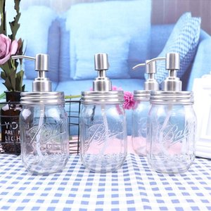 DIY Hand Soap Dispenser Pump Stainless Steel Lids Mason Jar Glass Transparent Relief Shower Gel Bottles High Quality 7ja E1