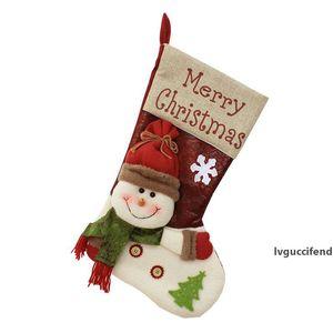 New Design Christmas Stocking Santa Socks Christmas Gift Bags For Kids Christmas Decoration For Tree Hanging Candy Gift Holder