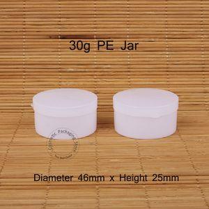 30pcs / Lot Förderung 30g Kunststoff PE Sahneglas Leer 30ml Frauen Cosmetic Pot White Cap Kleine nachfüllbar Vial