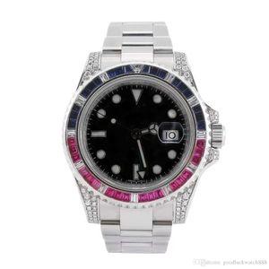 Top maître montre pour rendre les hommes 40mm montre en acier inoxydable incrustée de diamants mécanique automatique montre étanche de luxe lumineux