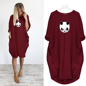 Dress Women Printing Cute Animal Pocket Loose Dress Vintage Fall Clothes Party Casual Plus Size 5XL Dresses Women Dresses