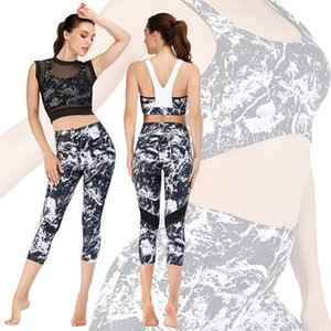two sets of fitness suits running print suits yoga suit tight pants barbie pants sports bra leggings summer women new